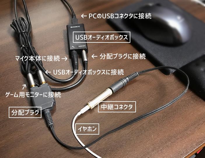 モニター2台の音を1つのイヤホンで同時に聞きながらマイクで通話する接続方法