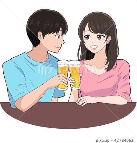 イラスト素材: お酒で乾杯する男女のイラスト
