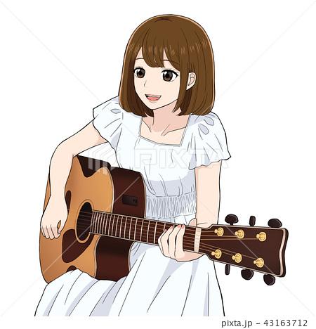 イラスト素材: ギターを弾く女性のイラスト