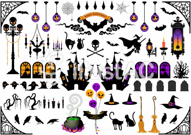 魔女や屋敷のシルエットイラスト