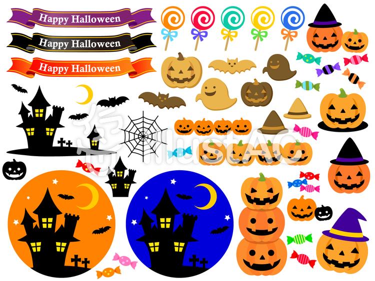 かぼちゃやお菓子の飾りイラスト