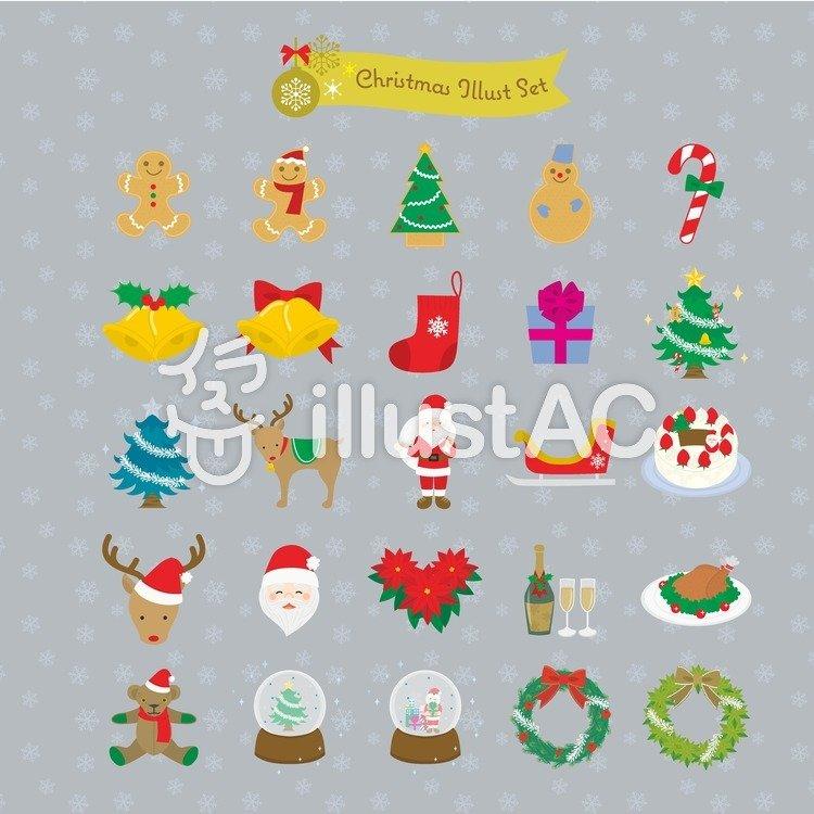 クリスマスの飾りイラストセット