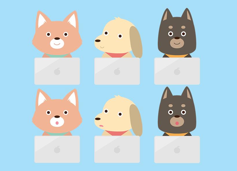 パソコンを扱う犬のイラスト